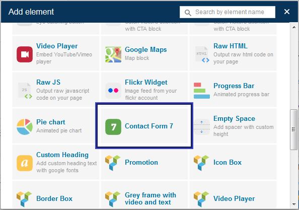 Contact Form 7 chooser for Visual Composer - אחסון וורדפרס - בניית ...